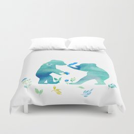 Playing bear kids - Watercolor animal illustration Duvet Cover