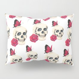 Skull, red rose and red butterfly Pillow Sham