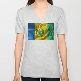 Saint Vincent and the Grenadines Flag Unisex V-Neck
