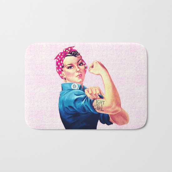 Fight Like A Girl Rosie The Riveter Girly Mod Pink Bath Mat