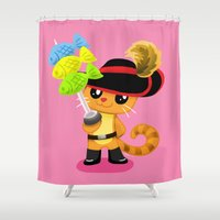 macaron Shower Curtains featuring Oh My Macaron Fish  by Mayying
