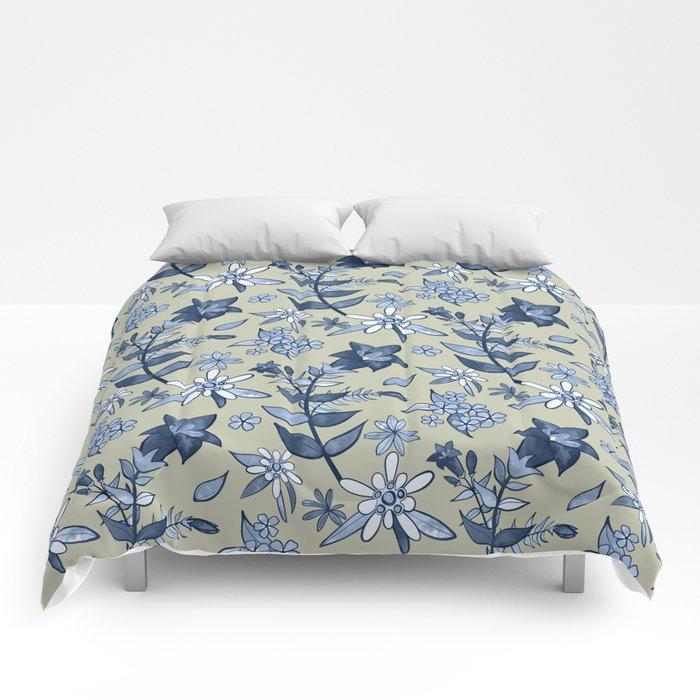 Monochrome Tan and Blue Alpine Flora Comforters