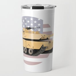 M1A1 Abrams Tank with American Flag Travel Mug