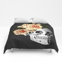 Dia De Los Muertos Black Linen Comforters