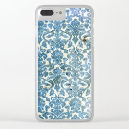 Vintage Antique Blue Wallpaper Pattern Clear iPhone Case