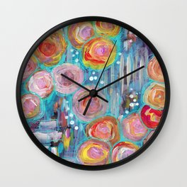 Roses on the Brick Walk Wall Clock