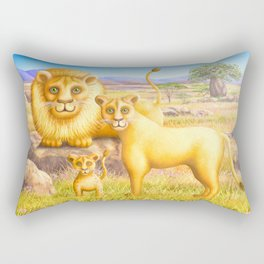 Lion, Lioness and Cub Rectangular Pillow
