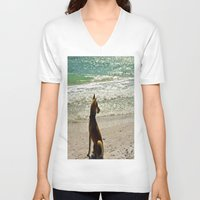 shiba inu V-neck T-shirts featuring Shiba Inu by Blue Lightning Creative