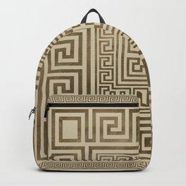 Greek Key Ornament - Greek Meander - Pastel Gold Backpack