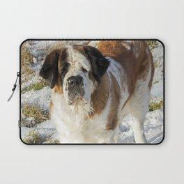 Cute Saint Bernard dog in the snow Laptop Sleeve