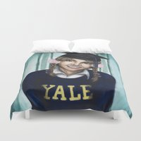 britney Duvet Covers featuring Britney: The Yale Grad by Nicole A. Fleming