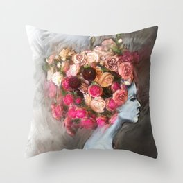 Flower Bloom Girl Throw Pillow