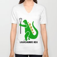 lacrosse V-neck T-shirts featuring Lacrosse Laxasaurus Rex  by YouGotThat.com