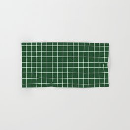Cal Poly Pomona green - green color - White Lines Grid Pattern Hand & Bath Towel