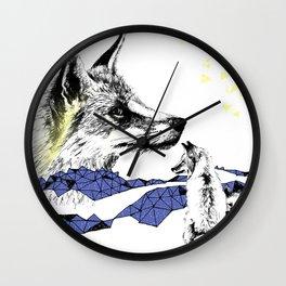 Fox & Cub, Blue & Yellow Wall Clock