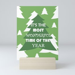 Snowy Christmas tree Mini Art Print