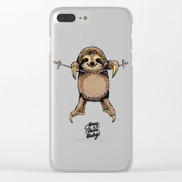 Hang in There Baby Sloth Clear iPhone Case