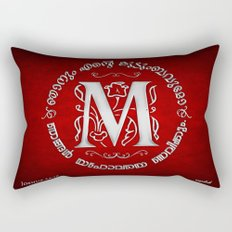Joshua 24:15 - (Silver on Red) Monogram M Rectangular Pillow