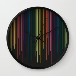 Rainbow Raining at Night Wall Clock