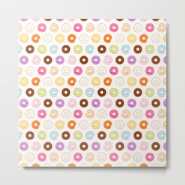 Happy Cute Donuts Pattern Metal Print
