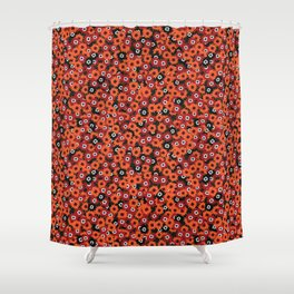 Red Ditsy Daisy Floral Shower Curtain
