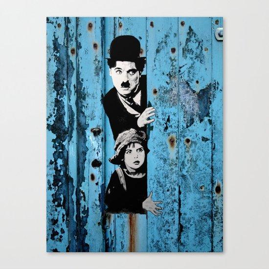 Chaplin and the kid - Urban ART Canvas Print