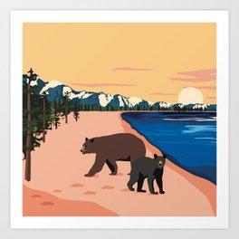 Beach Bears Lake Tahoe Art Print