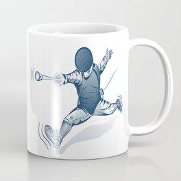 Fencer. Print for t-shirt. Vector engraving illustration. Coffee Mug