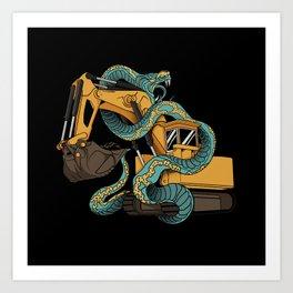 Excavator vs Anaconda Art Print