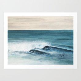 Surfing big waves Art Print