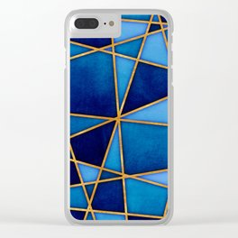 Cobalt Watercolor Skewed Color Blocks Clear iPhone Case