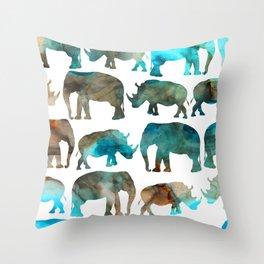 watercolor Rhino Elephant Throw Pillow