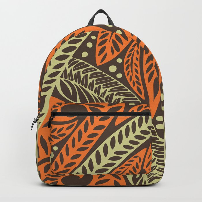 3ffc6d6714d Cream orange retro colored Polynesian floral tattoo design Backpack by  ayeletfleming