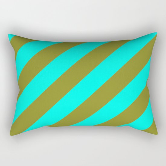 Cyan Blue And Army Khaki Green Stripes Rectangular Pillow
