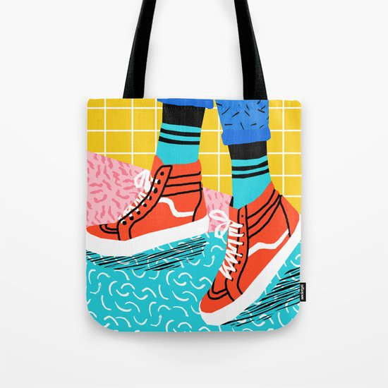 Toe Drag - memphis throwback fashion shoes retro pattern grid pink bright neon hipster Tote Bag