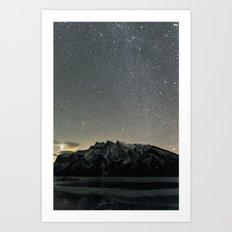 Stars over Lake Minnewanka Art Print