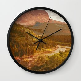 Glacier National Park in Autumn Wall Clock