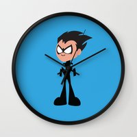 nightwing Wall Clocks featuring Nightwing by Adrian Mentus