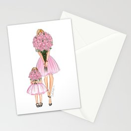 Mother's Day little girl red head Stationery Cards