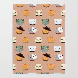 Slasher Kitties (Horror-movie inspired cats) - Pattern V. Poster