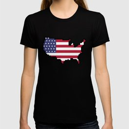 8-Bit United States of America Map and Flag T-shirt