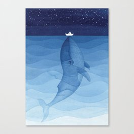 Whale blue ocean Canvas Print