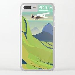machu picchu travel poster Clear iPhone Case