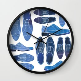 Blue Brogue Shoes Wall Clock