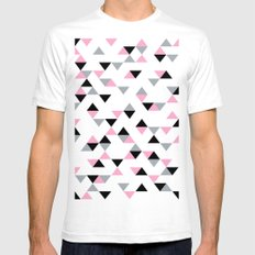 Triangles Black and Pink Mens Fitted Tee White SMALL