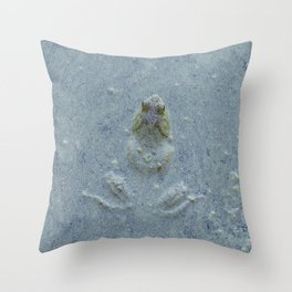 Frog in bluish water at Billy J. Frank Nisqually National Wildlife Refuge Throw Pillow