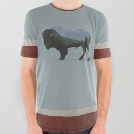Wyoming Bison Flag All Over Graphic Tee