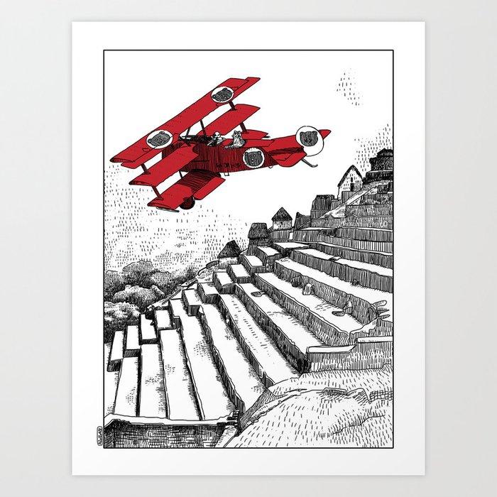 asc 114 - Le Baron Rouge & son ours Darwin (La montagne où tombent les étoiles) Art Print