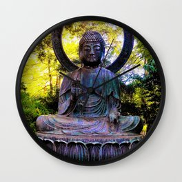 Buddha in the park Wall Clock