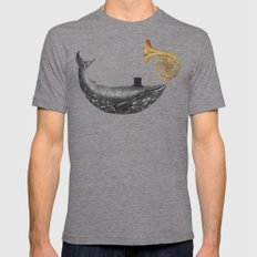 Whale Song MEDIUM Tri-Grey Mens Fitted Tee
